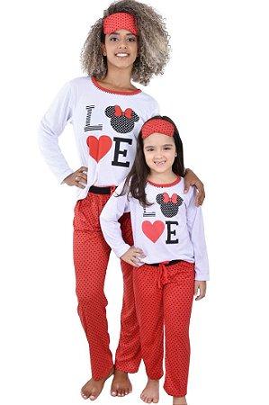 Pijama Longo Adulto Minnie Love Feminino Inverno