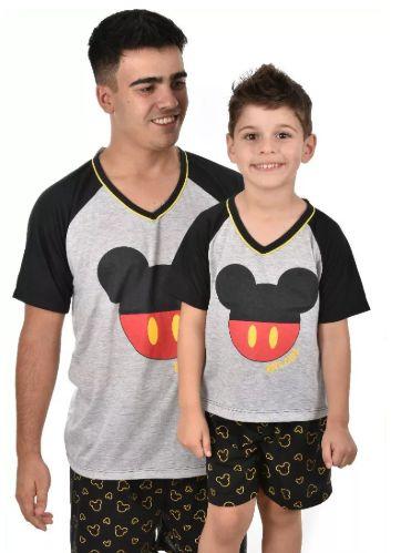 Kit 2 Pijama Pai E Filho Club Mickey Verão Curto