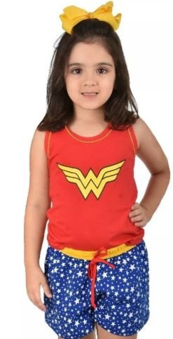 Baby Doll Infantil Curto Pijama Mulher Maravilha Feminino