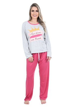 Pijama Adulto Rainha Longo Fechado Feminino Inverno