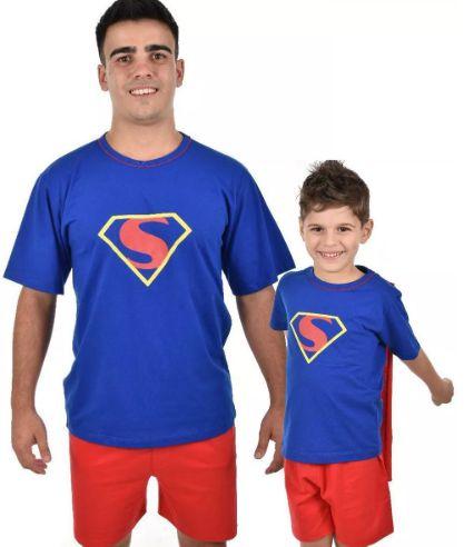 Kit 2 Pijamas Curto Pai E Filho Super Homem