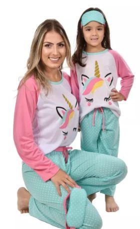 Kit 2 Pijamas Longos Raglan Mãe E Filha Adulto Inverno
