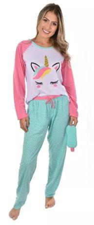 Pijama Longo Unicórnio Raglan Adulto Feminino Com Calça