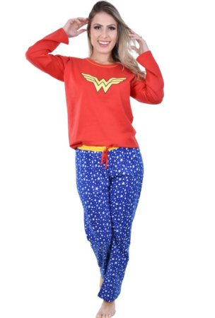 Pijama Mulher Maravilha Longo Adulto