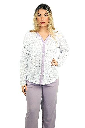 Pijama 182 Longo Blusa Aberta com Botões - CORES SORTIDAS