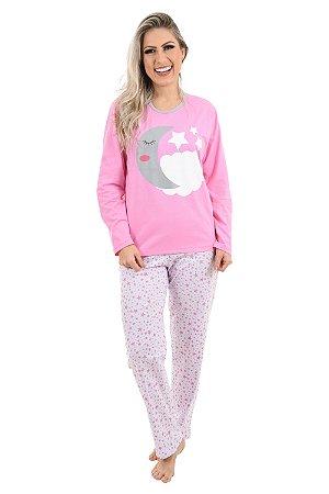 Pijama longo adulto rosa noite Lua feminino