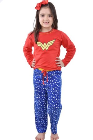 Pijama Mulher Maravilha longo infantil