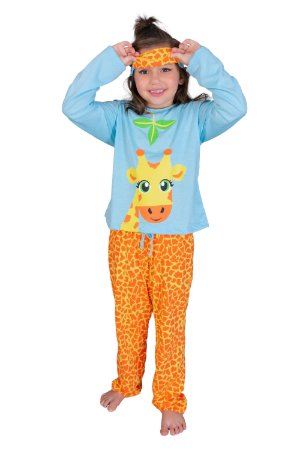Pijama longo girafa infantil feminino