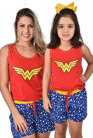Kit 2 Baby doll mãe e filha Mulher Maravilha