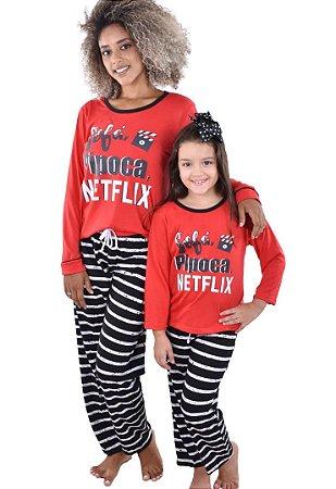 Kit 2 Pijama Netflix mãe e filha longo feminino