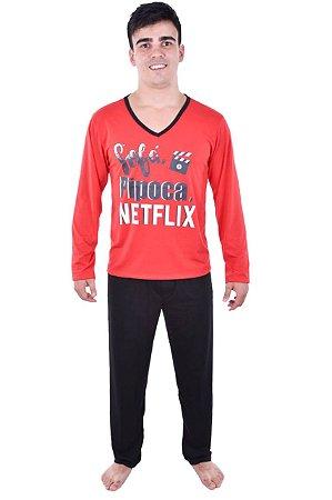Pijama Netflix longo adulto masculino