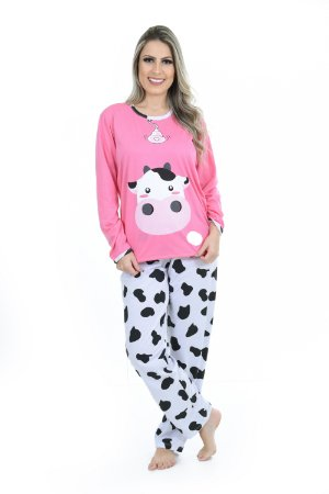 Pijama longo vaquinha feminino