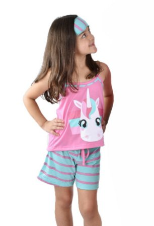 Pijama curto baby doll infantil unicórnio + tapa olhos brinde