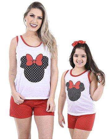 Pijama Curto Mãe e Filha Minnie 101 + 131