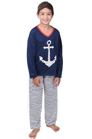 Pijama âncora longo masculino infantil