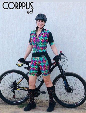 Macaquinho Ciclismo Verde e Rosa