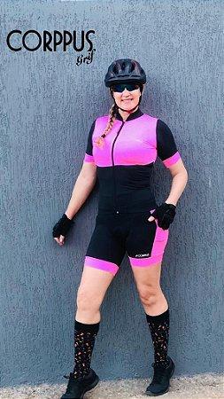 Conjunto Ciclismo Preto e Rosa