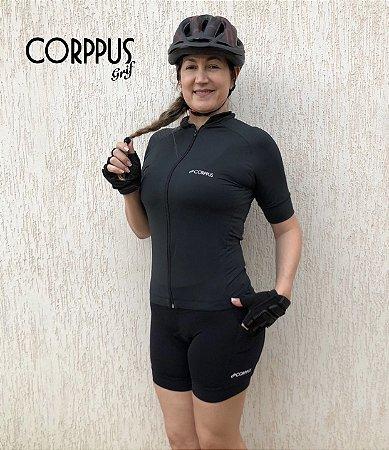 Blusa Ciclismo Preta Manga Curta