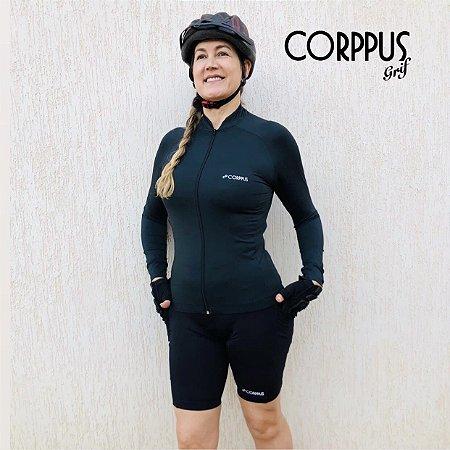 Blusa Ciclismo Preta Manga Longa