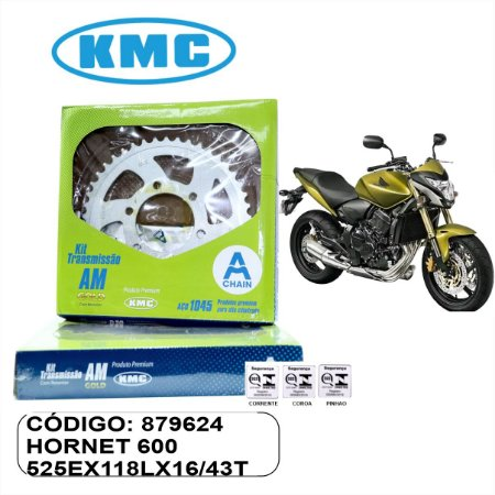 KIT TRANSMISSAO KMC GOLD HORNET 600  2008 A 2018 COM RETENTOR