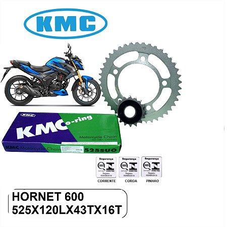 KIT TRANSMISSAO RELACAO KMC MAX HORNET 600  COM CORRENTE E RETENTOR