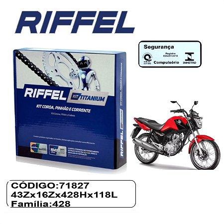 KIT TRANSMISSAO RELACAO RIFFEL TITAN 150 04-18 FAN START 150  09-19 SEM RETENTOR