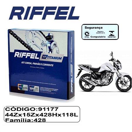 KIT TRANSMISSAO RELACAO RIFFEL TITAN FAN START CARGO 150 15-21 SEM RETENTOR