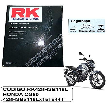 KIT TRANSMISSAO RELACAO RK HONDA CG 160  14-20 SEM RETENTOR