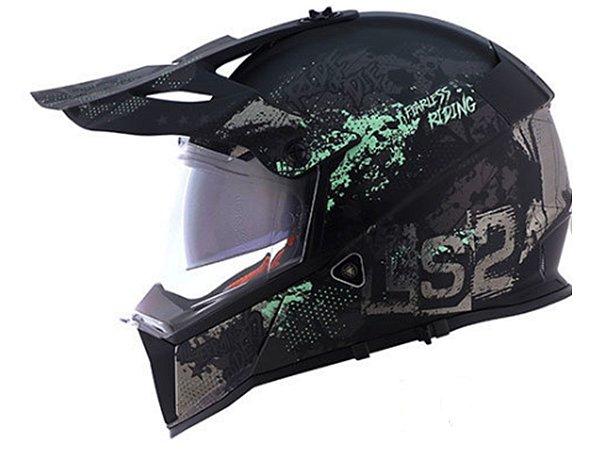 Capacete LS2 MX436 Pionner Evo Fearless Matte Black grey