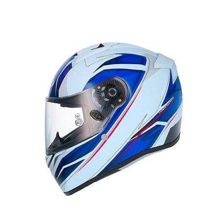 Capacete Shiro Sh336 Crown Branco Azul Brilhante
