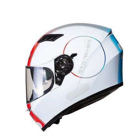 Capacete Shiro Sh-600 Robotic Branco Vermelho Azul