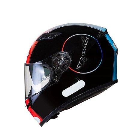 Capacete Shiro Sh-600 Robotic Preto Vermelho Azul