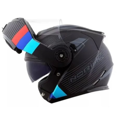 CAPACETE NORISK FF345 STROKE MATT BLACK BLUE RED