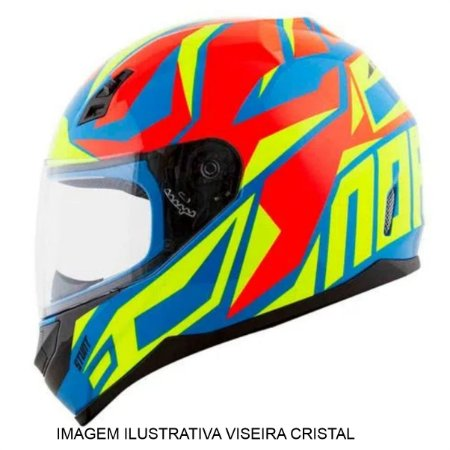 Capacete Norisk  FF391 Cutting LT Blue Hv Yellow Red