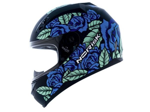 Capacete Norisk FF391 Bed Of Roses Matte Black Blue