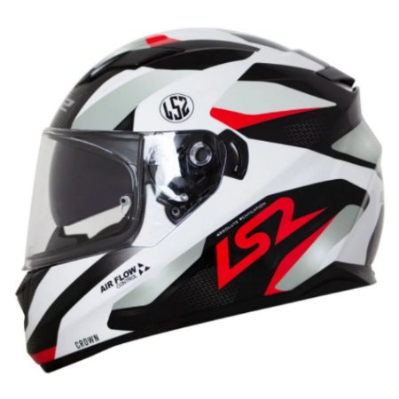 CAPACETE LS2 FF320 STREAM CROWN WHITE/RED 54