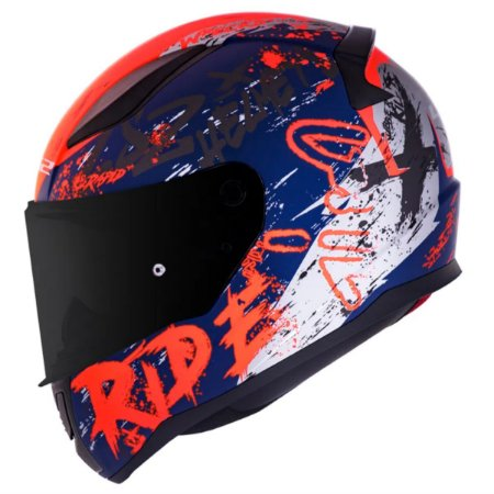 CAPACETE LS2 FF353 NAUGHTY MATTE BLUE / FLUO ORANGE