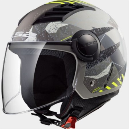 CAPACETE LS2 OF562 AIRFLOW CAMO MATTE TITANIUM YELLOW