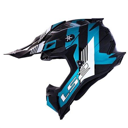 CAPACETE LS2 MX700 SUBVERTER EVO MAX BLACK  TURQUOISE