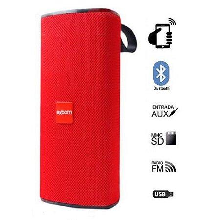 Caixa de Som Portátil Bluetooth Vermelha Exbom 03050 - CS-M33BT