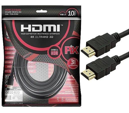 Cabo HDMI 10M 2.0 Gold 4k Ultra HD 3D Pix 018-2230