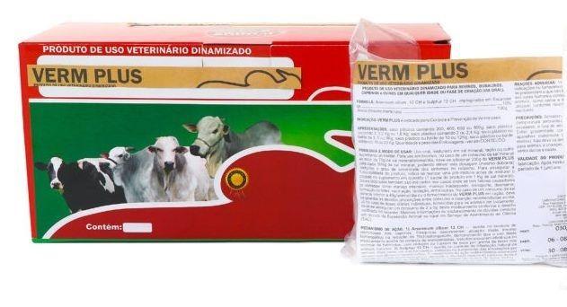 Suplemento Gado Bovino Verm plus homeopatia 01kg - tratamento e prevenção de verminoses - 2 gramas animal dia
