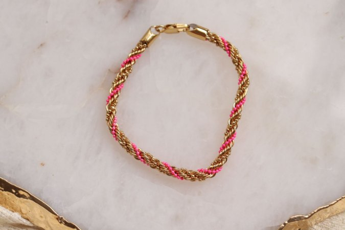 Pulseira Tranças Pink Golden