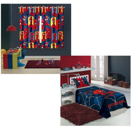 cortina + jogo de cama 2 pçs spider man homem aranha lepper