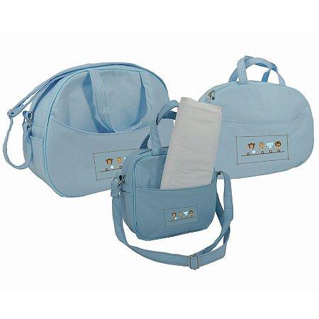 kit saida maternidade bolsa mala e frasqueira sapeca kids azul