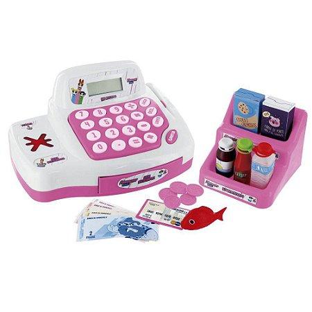 caixa registradora infantil com luz e som rosa poderosas