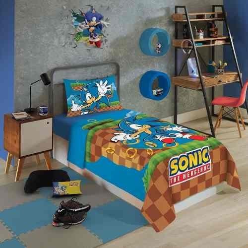 Sonic Jogo De Cama Solteiro 3 Peças Lepper