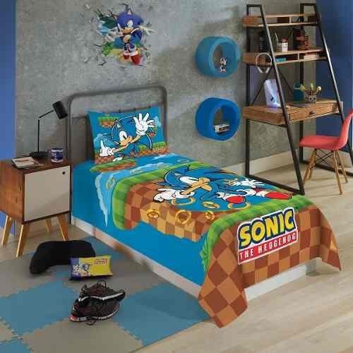 Sonic Jogo De Cama Solteiro 2 Peças Lepper