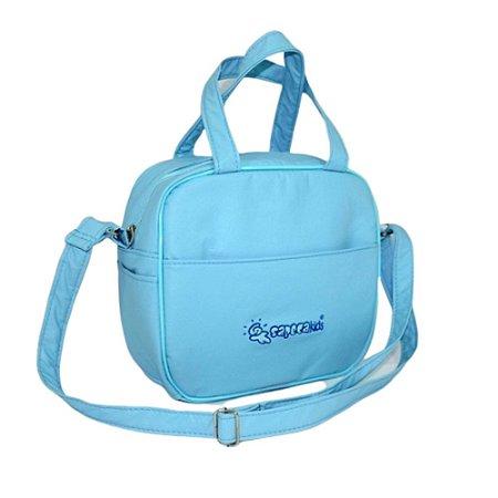 bolsa frasqueira térmica saída maternidade sapeca kids Azul Sapeca