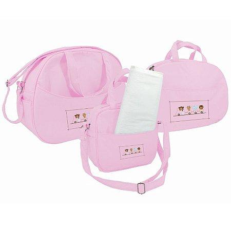 kit saida maternidade bolsa mala e frasqueira sapeca kids rosa